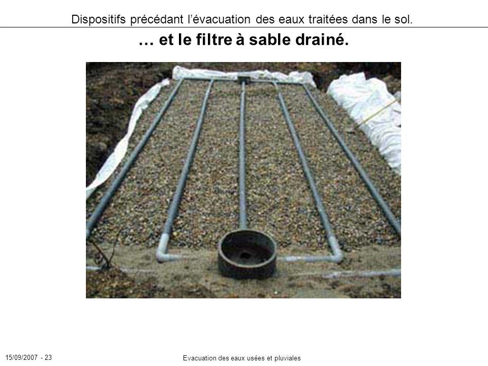 15/09/2007 - 23 Evacuation des eaux usées et pluviales Dispositifs précédant lévacuation des eaux traitées dans le sol. … et le filtre à sable drainé.