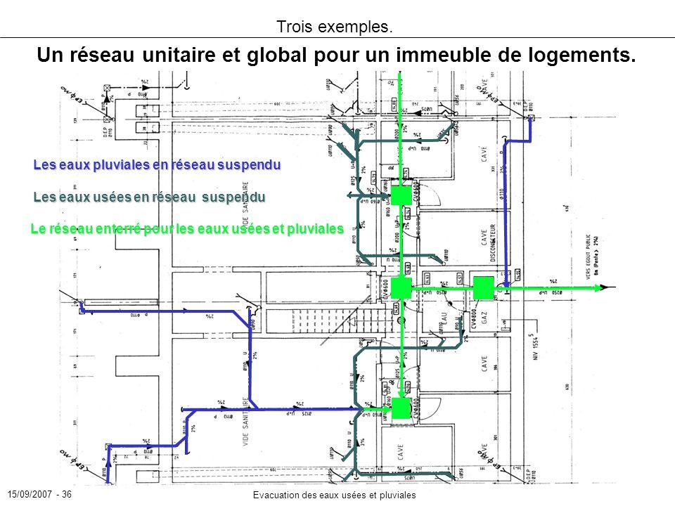 15/09/2007 - 36 Evacuation des eaux usées et pluviales Trois exemples. Un réseau unitaire et global pour un immeuble de logements. Les eaux pluviales