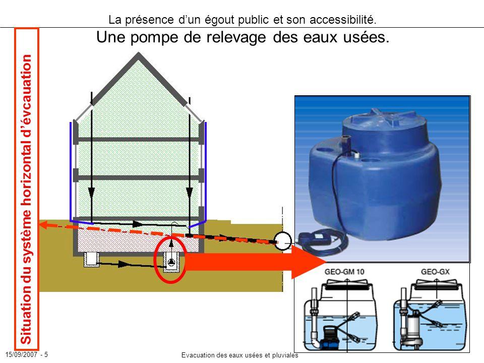 15/09/2007 - 5 Evacuation des eaux usées et pluviales La présence dun égout public et son accessibilité. Une pompe de relevage des eaux usées. Situati
