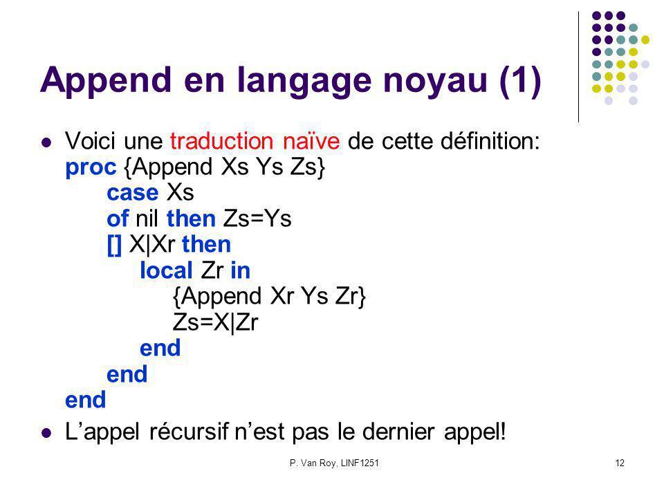 P. Van Roy, LINF125112 Append en langage noyau (1) Voici une traduction naïve de cette définition: proc {Append Xs Ys Zs} case Xs of nil then Zs=Ys []