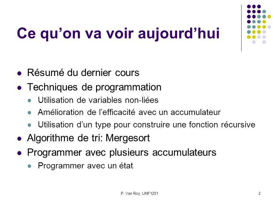 P. Van Roy, LINF12512 Ce quon va voir aujourdhui Résumé du dernier cours Techniques de programmation Utilisation de variables non-liées Amélioration d