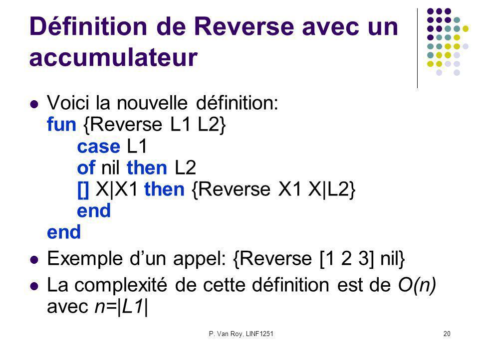 P. Van Roy, LINF125120 Définition de Reverse avec un accumulateur Voici la nouvelle définition: fun {Reverse L1 L2} case L1 of nil then L2 [] X|X1 the