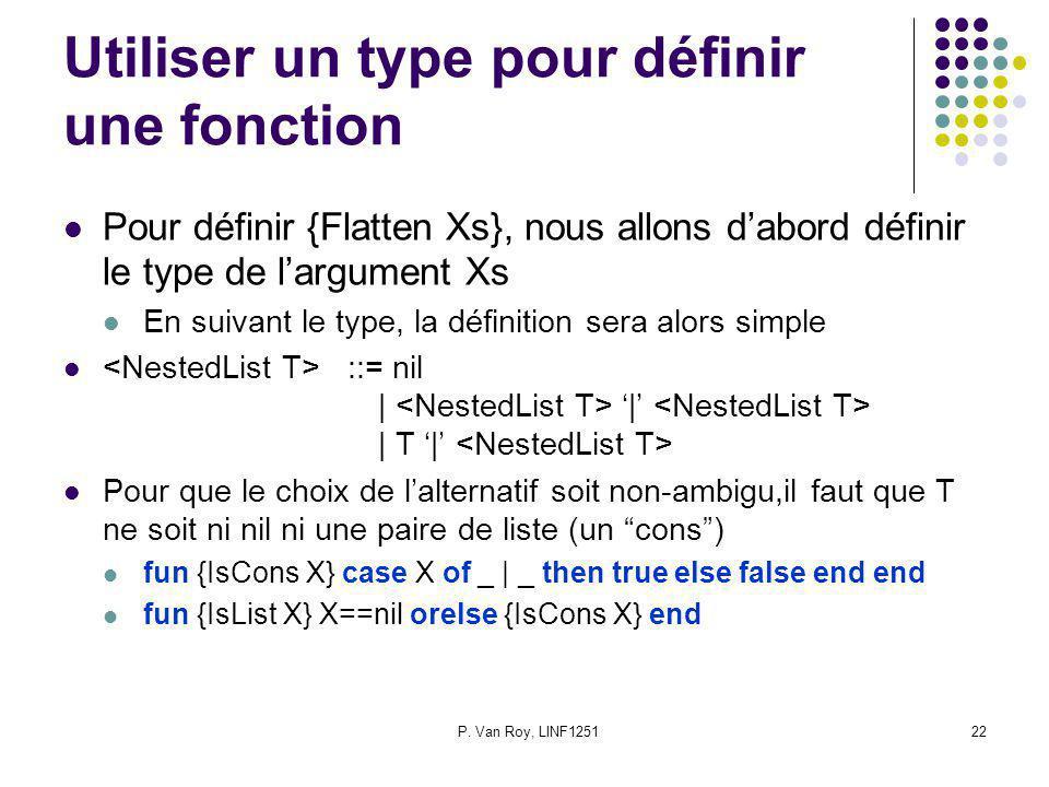 P. Van Roy, LINF125122 Utiliser un type pour définir une fonction Pour définir {Flatten Xs}, nous allons dabord définir le type de largument Xs En sui