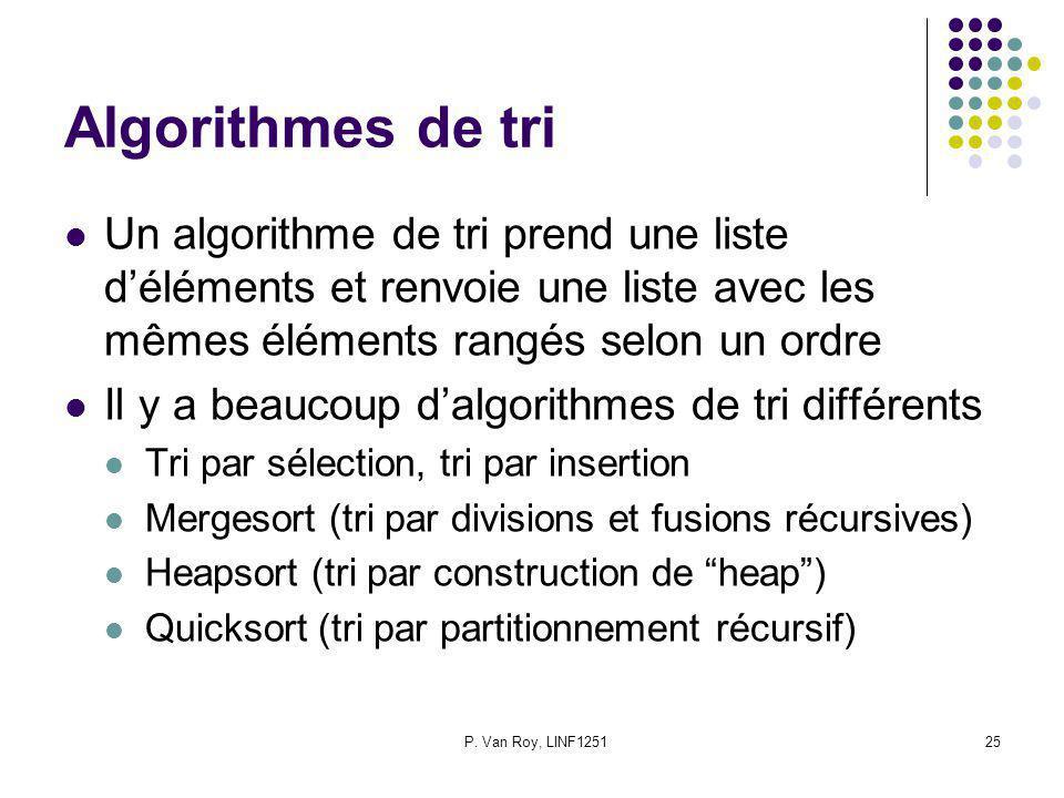 P. Van Roy, LINF125125 Algorithmes de tri Un algorithme de tri prend une liste déléments et renvoie une liste avec les mêmes éléments rangés selon un