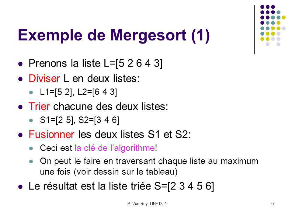 P. Van Roy, LINF125127 Exemple de Mergesort (1) Prenons la liste L=[5 2 6 4 3] Diviser L en deux listes: L1=[5 2], L2=[6 4 3] Trier chacune des deux l