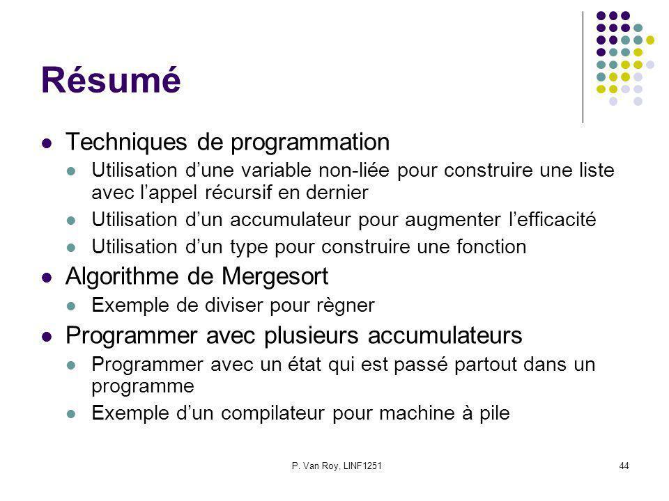 P. Van Roy, LINF125144 Résumé Techniques de programmation Utilisation dune variable non-liée pour construire une liste avec lappel récursif en dernier