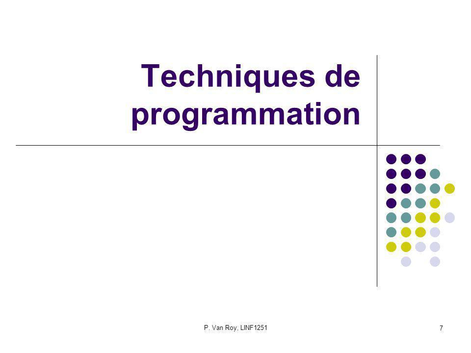 P. Van Roy, LINF1251 7 Techniques de programmation