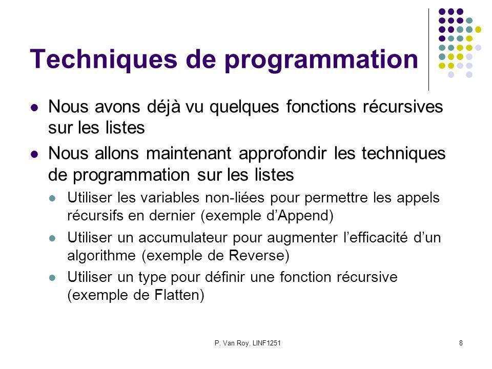 P. Van Roy, LINF12518 Techniques de programmation Nous avons déjà vu quelques fonctions récursives sur les listes Nous allons maintenant approfondir l