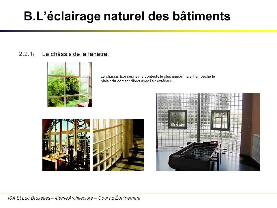 ISA St Luc Bruxelles – 4ieme Architecture – Cours dÉquipement B.Léclairage naturel des bâtiments 2.2.2/Le type de vitrage.