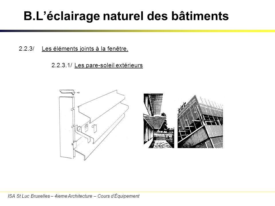 ISA St Luc Bruxelles – 4ieme Architecture – Cours dÉquipement B.Léclairage naturel des bâtiments 2.2.3.2/Lefficacité des pare-soleil extérieurs.