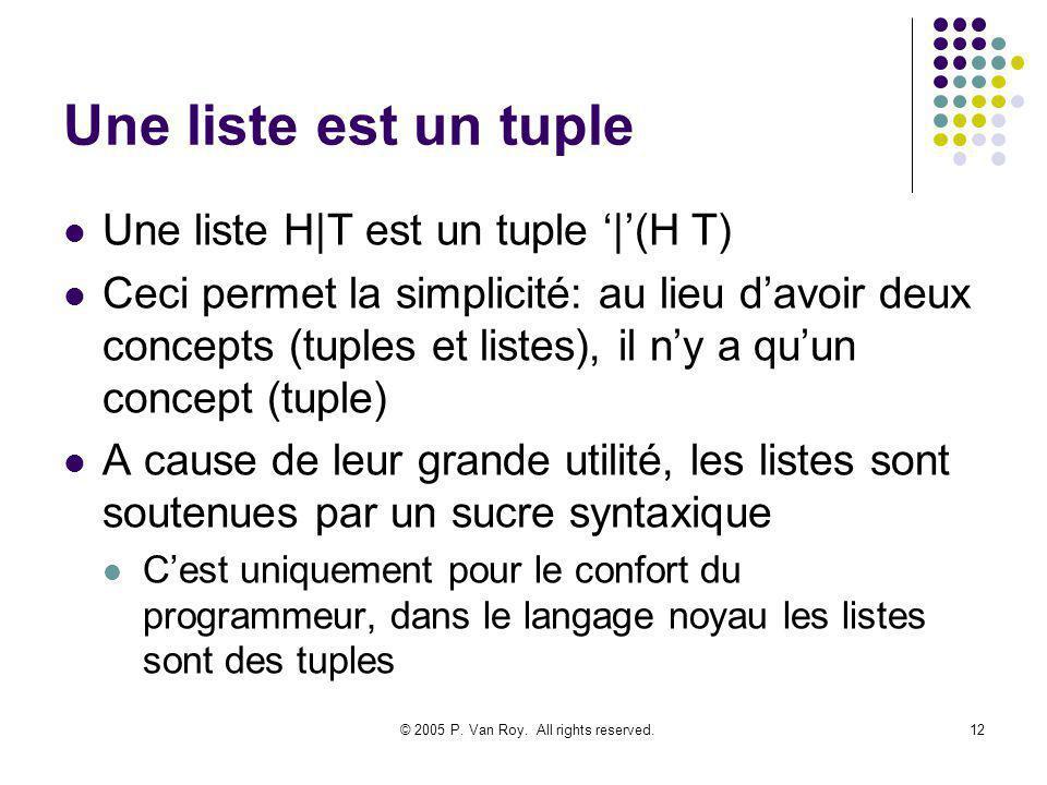 © 2005 P. Van Roy. All rights reserved.12 Une liste est un tuple Une liste H|T est un tuple |(H T) Ceci permet la simplicité: au lieu davoir deux conc