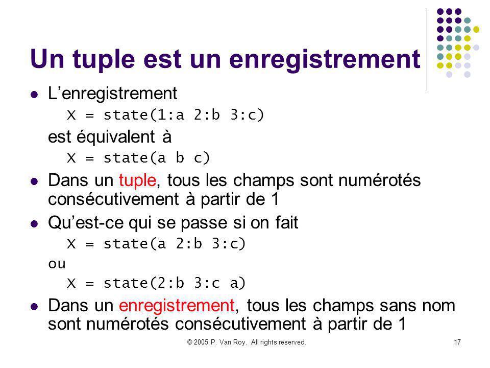 © 2005 P. Van Roy. All rights reserved.17 Un tuple est un enregistrement Lenregistrement X = state(1:a 2:b 3:c) est équivalent à X = state(a b c) Dans