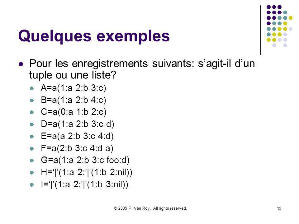 © 2005 P. Van Roy. All rights reserved.19 Quelques exemples Pour les enregistrements suivants: sagit-il dun tuple ou une liste? A=a(1:a 2:b 3:c) B=a(1