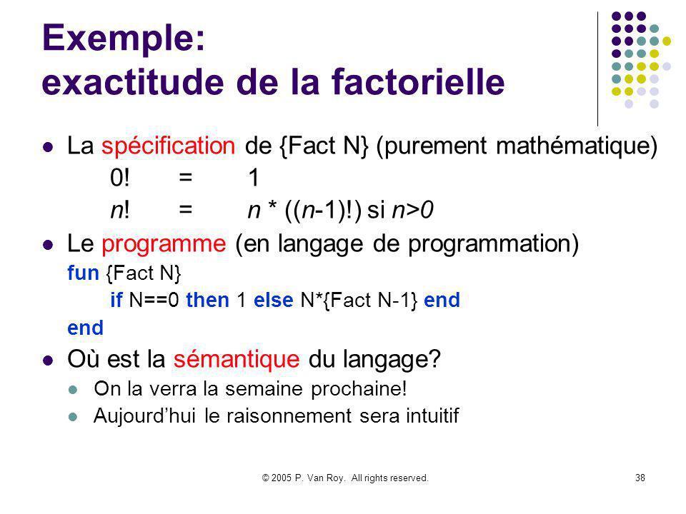 © 2005 P. Van Roy. All rights reserved.38 Exemple: exactitude de la factorielle La spécification de {Fact N} (purement mathématique) 0!=1 n!=n * ((n-1