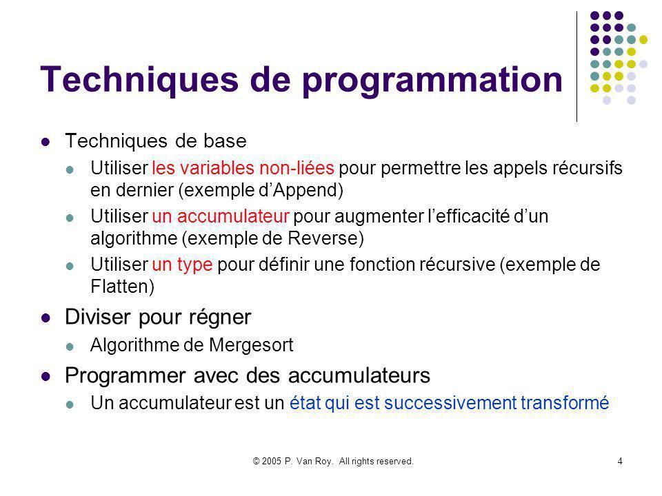 © 2005 P. Van Roy. All rights reserved.4 Techniques de programmation Techniques de base Utiliser les variables non-liées pour permettre les appels réc