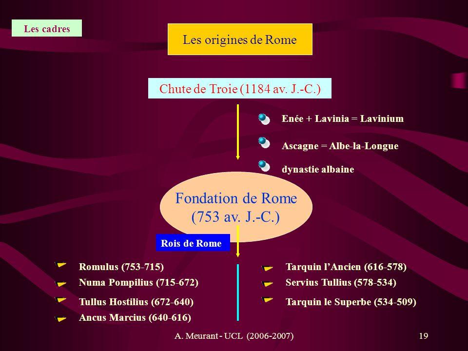 A. Meurant - UCL (2006-2007)19 Les origines de Rome Chute de Troie (1184 av. J.-C.) Fondation de Rome (753 av. J.-C.) Enée + Lavinia = Lavinium Ascagn