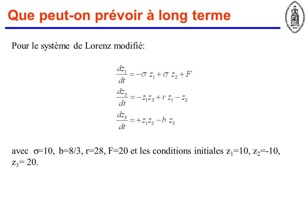 Que peut-on prévoir à long terme Pour le système de Lorenz modifié: avec =10, b=8/3, r=28, F=20 et les conditions initiales z 1 =10, z 2 =-10, z 3 = 20.