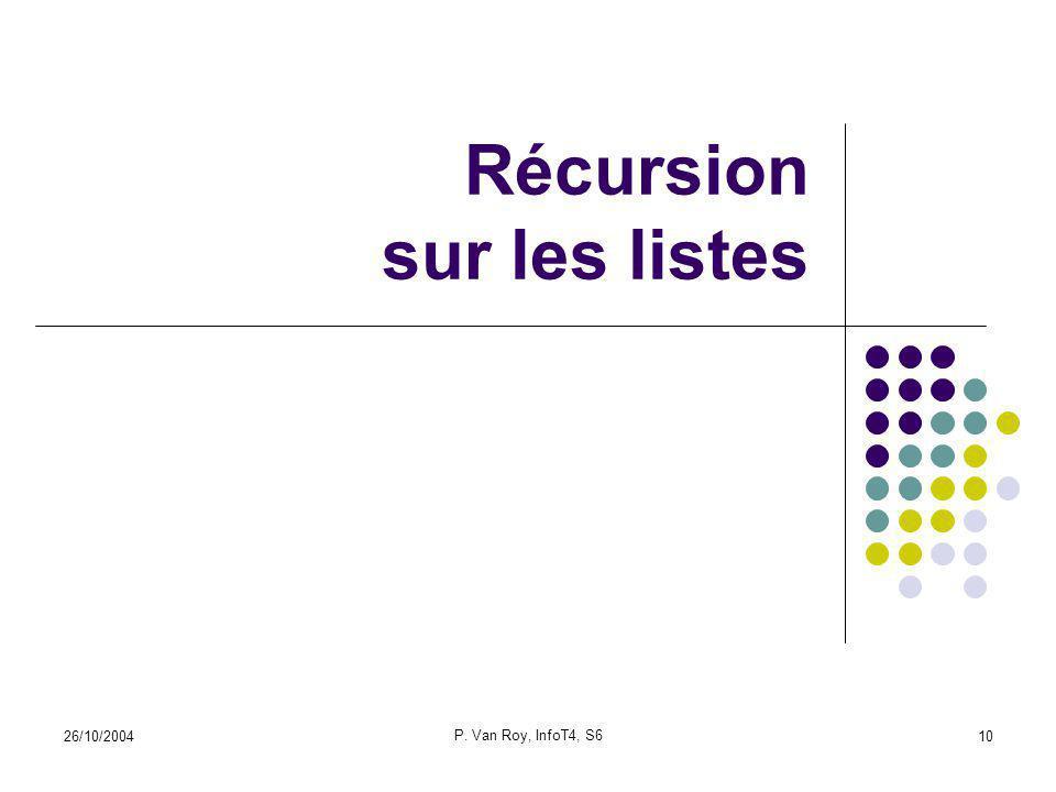 26/10/2004 P. Van Roy, InfoT4, S6 10 Récursion sur les listes