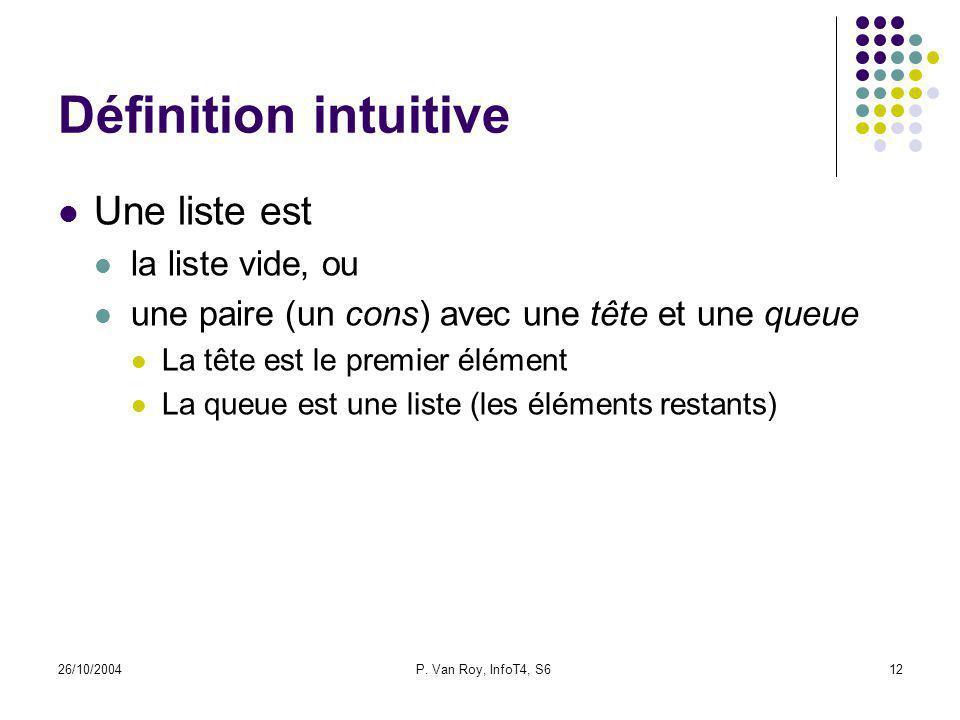 26/10/2004P. Van Roy, InfoT4, S612 Définition intuitive Une liste est la liste vide, ou une paire (un cons) avec une tête et une queue La tête est le