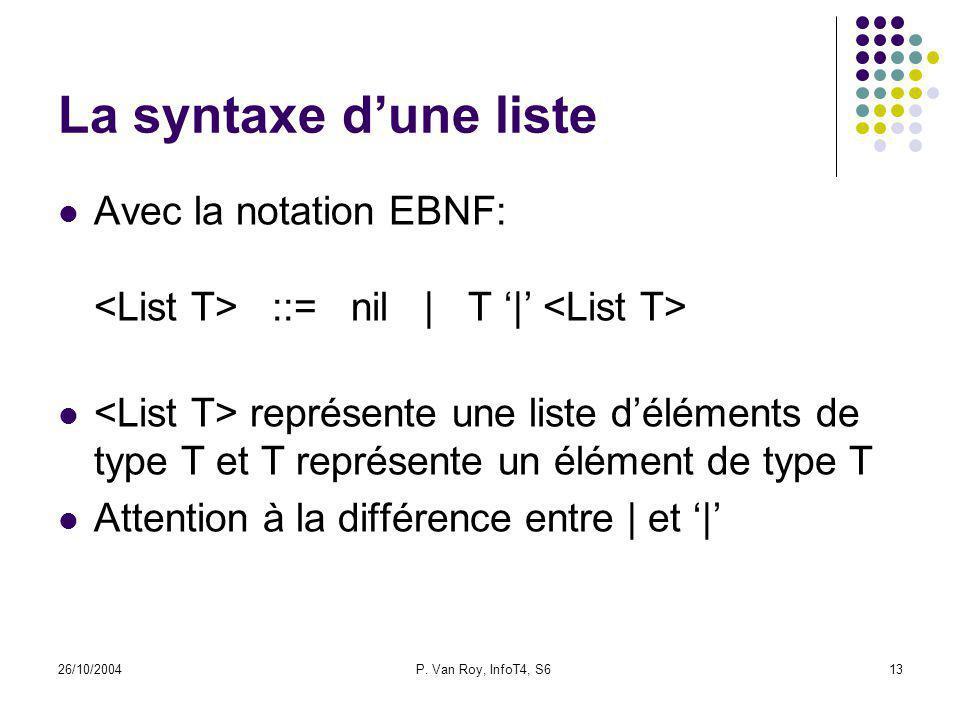 26/10/2004P. Van Roy, InfoT4, S613 La syntaxe dune liste Avec la notation EBNF: ::= nil | T | représente une liste déléments de type T et T représente