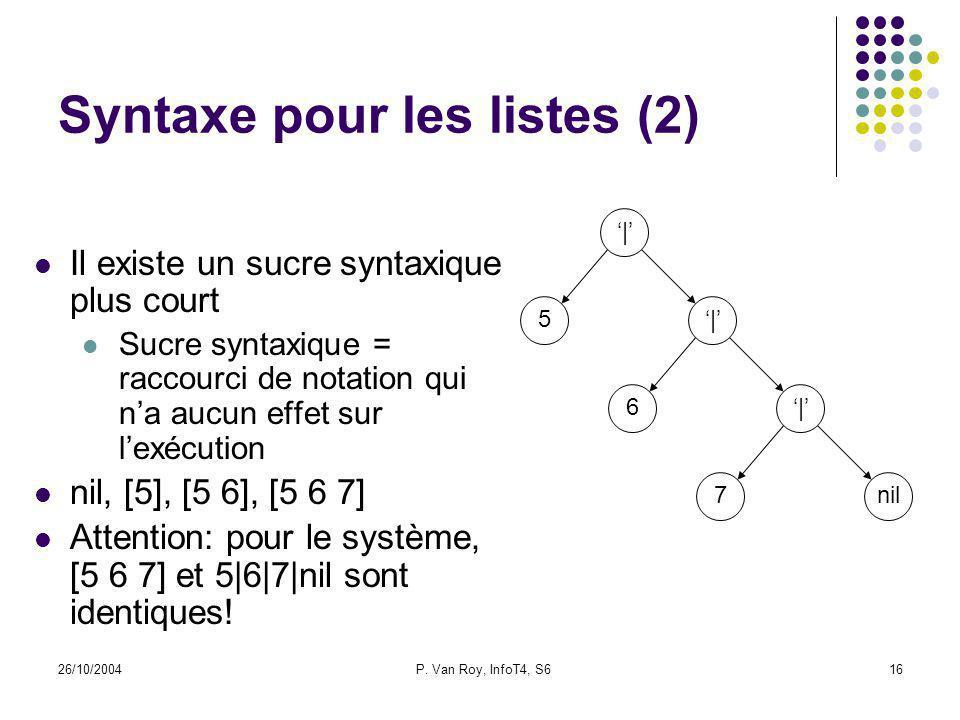 26/10/2004P. Van Roy, InfoT4, S616 Syntaxe pour les listes (2) Il existe un sucre syntaxique plus court Sucre syntaxique = raccourci de notation qui n