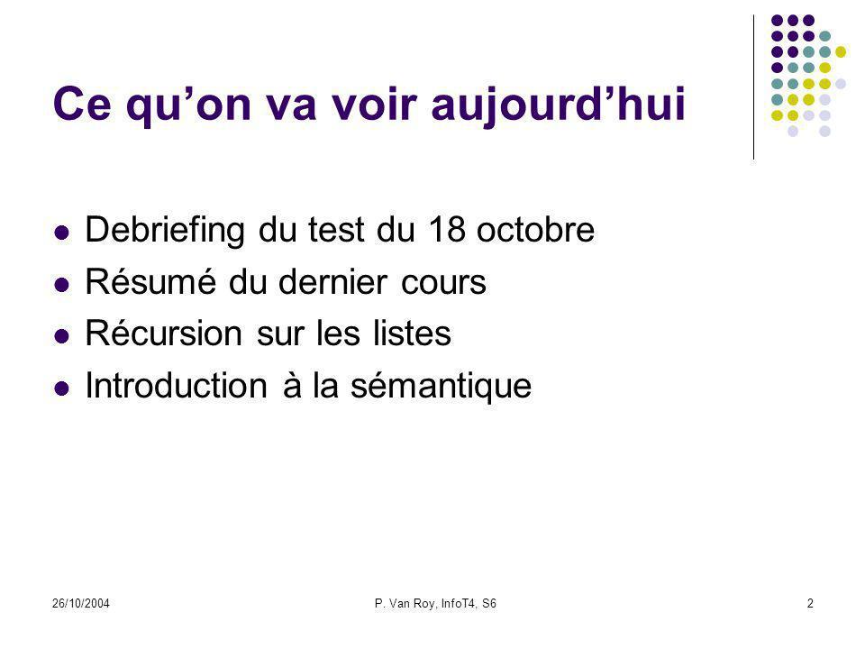 26/10/2004P. Van Roy, InfoT4, S62 Ce quon va voir aujourdhui Debriefing du test du 18 octobre Résumé du dernier cours Récursion sur les listes Introdu