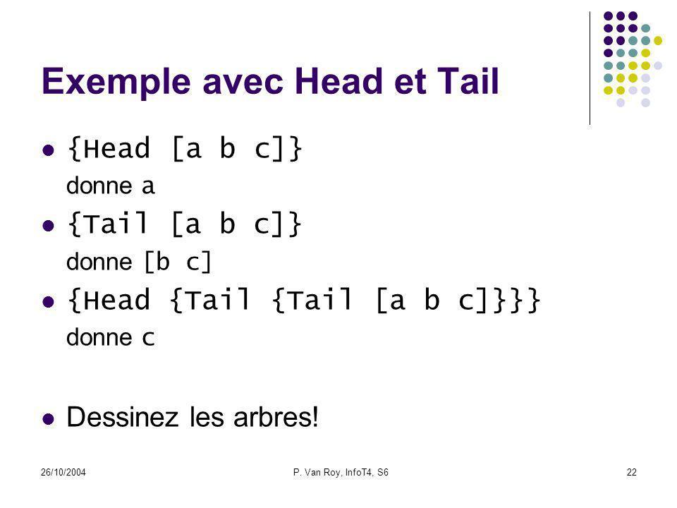 26/10/2004P. Van Roy, InfoT4, S622 Exemple avec Head et Tail {Head [a b c]} donne a {Tail [a b c]} donne [b c] {Head {Tail {Tail [a b c]}}} donne c De