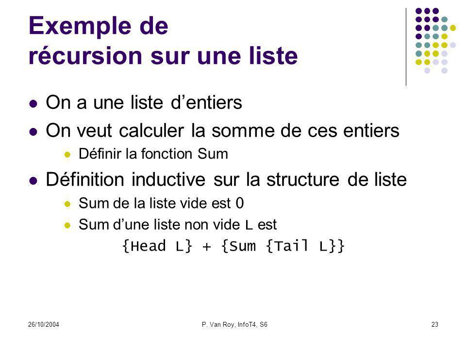 26/10/2004P. Van Roy, InfoT4, S623 Exemple de récursion sur une liste On a une liste dentiers On veut calculer la somme de ces entiers Définir la fonc