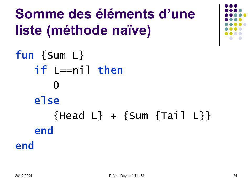 26/10/2004P. Van Roy, InfoT4, S624 Somme des éléments dune liste (méthode naïve) fun {Sum L} if L==nil then 0 else {Head L} + {Sum {Tail L}} end