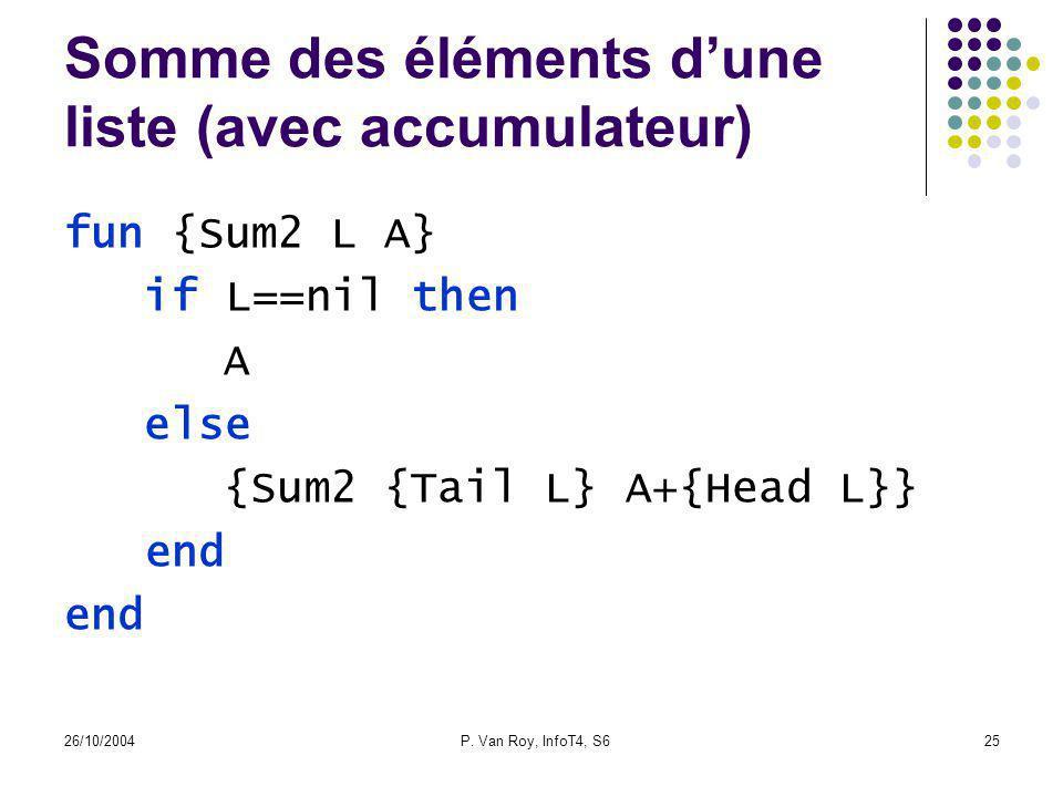 26/10/2004P. Van Roy, InfoT4, S625 Somme des éléments dune liste (avec accumulateur) fun {Sum2 L A} if L==nil then A else {Sum2 {Tail L} A+{Head L}} e