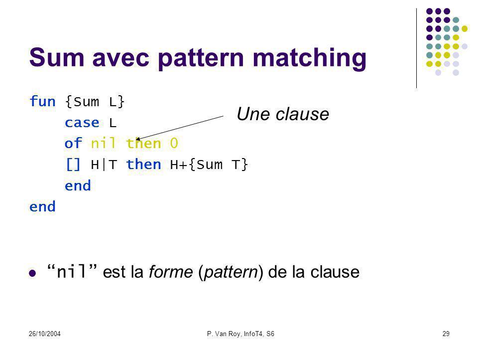 26/10/2004P. Van Roy, InfoT4, S629 Sum avec pattern matching fun {Sum L} case L of nil then 0 [] H|T then H+{Sum T} end Une clause nil est la forme (p