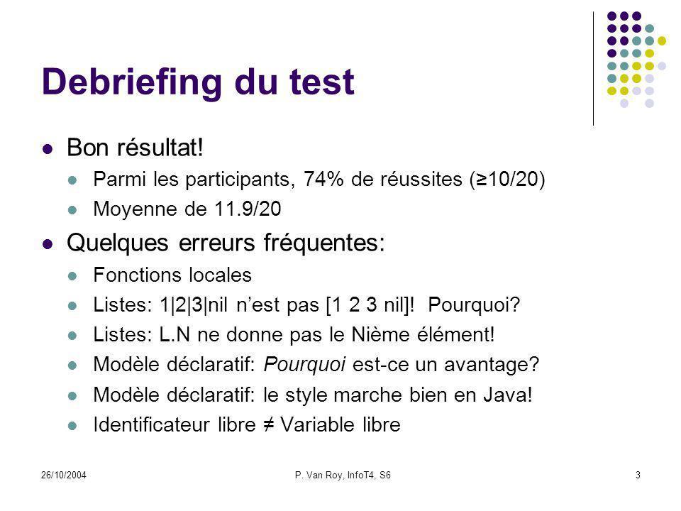 26/10/2004P. Van Roy, InfoT4, S63 Debriefing du test Bon résultat! Parmi les participants, 74% de réussites (10/20) Moyenne de 11.9/20 Quelques erreur