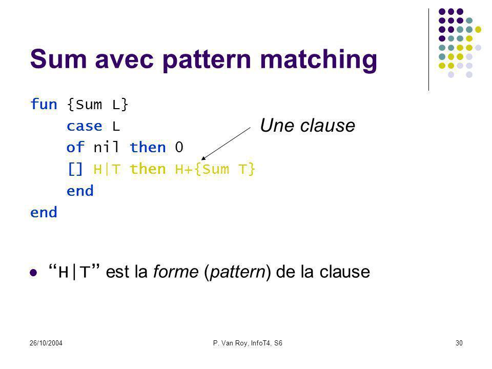 26/10/2004P. Van Roy, InfoT4, S630 Sum avec pattern matching fun {Sum L} case L of nil then 0 [] H|T then H+{Sum T} end Une clause H|T est la forme (p