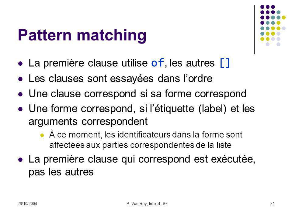 26/10/2004P. Van Roy, InfoT4, S631 Pattern matching La première clause utilise of, les autres [] Les clauses sont essayées dans lordre Une clause corr