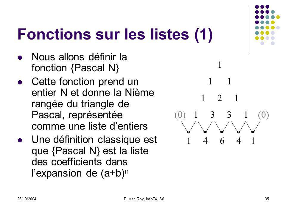26/10/2004P. Van Roy, InfoT4, S635 Fonctions sur les listes (1) Nous allons définir la fonction {Pascal N} Cette fonction prend un entier N et donne l