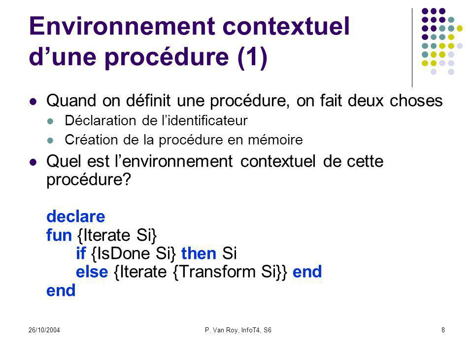26/10/2004P. Van Roy, InfoT4, S68 Environnement contextuel dune procédure (1) Quand on définit une procédure, on fait deux choses Déclaration de liden