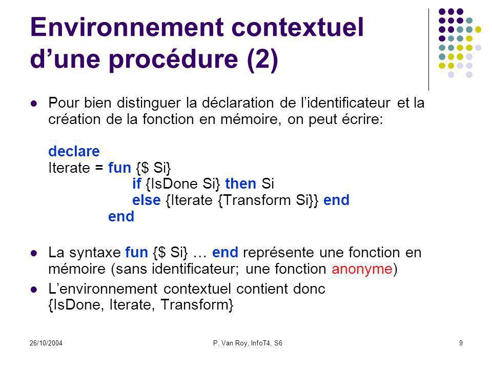 26/10/2004P. Van Roy, InfoT4, S69 Environnement contextuel dune procédure (2) Pour bien distinguer la déclaration de lidentificateur et la création de