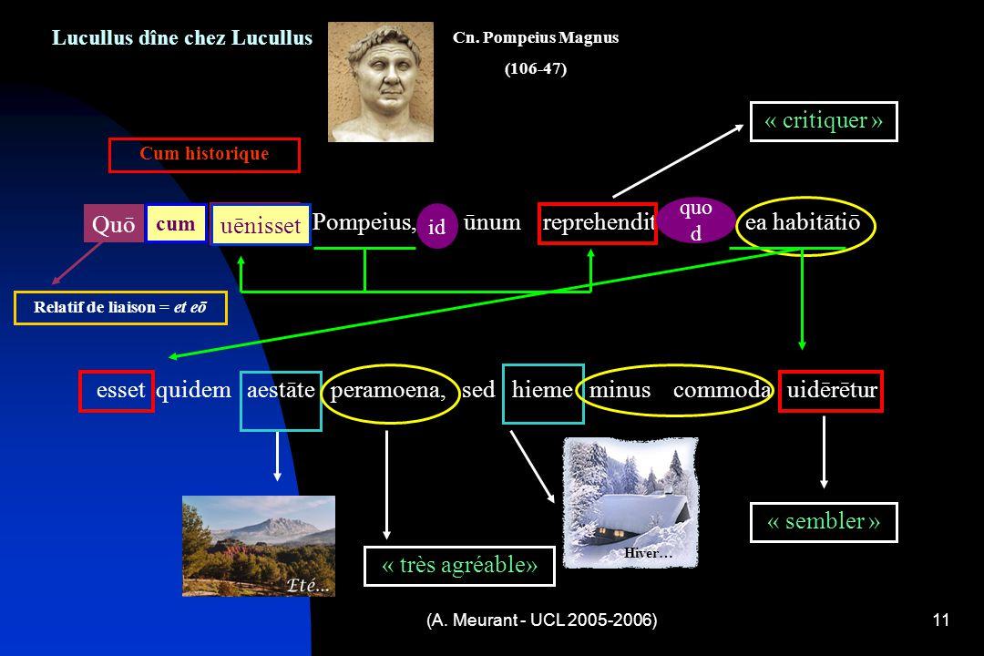 (A. Meurant - UCL 2005-2006)11 Lucullus dîne chez Lucullus Quō cum uēnisset Pompeius, id ūnum reprehendit quod ea habitātiō esset quidem aestāte peram