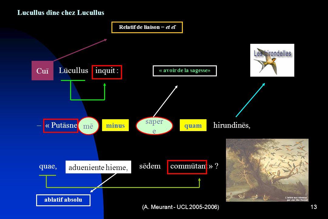 (A. Meurant - UCL 2005-2006)13 Lucullus dîne chez Lucullus Cuī Lūcullus inquit : – « Putāsne mē minus sapere quam hirundinēs, quae, adueniente hieme,