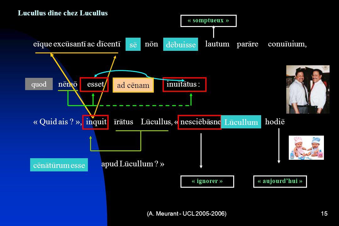 (A. Meurant - UCL 2005-2006)15 Lucullus dîne chez Lucullus eīque excūsantī ac dīcentī sē nōn dēbuisse lautum parāre conuīuium, « Quid ais ? », inquit