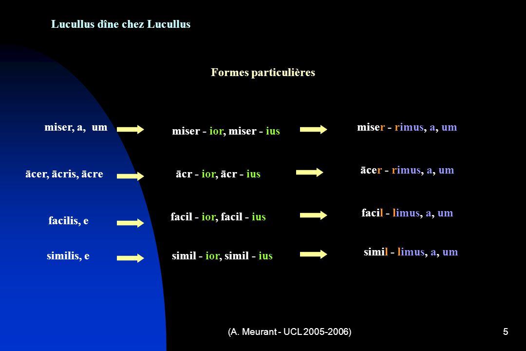 (A. Meurant - UCL 2005-2006)5 Lucullus dîne chez Lucullus Formes particulières miser, a, um miser - ior, miser - ius miser - rimus, a, um ācer, ācris,