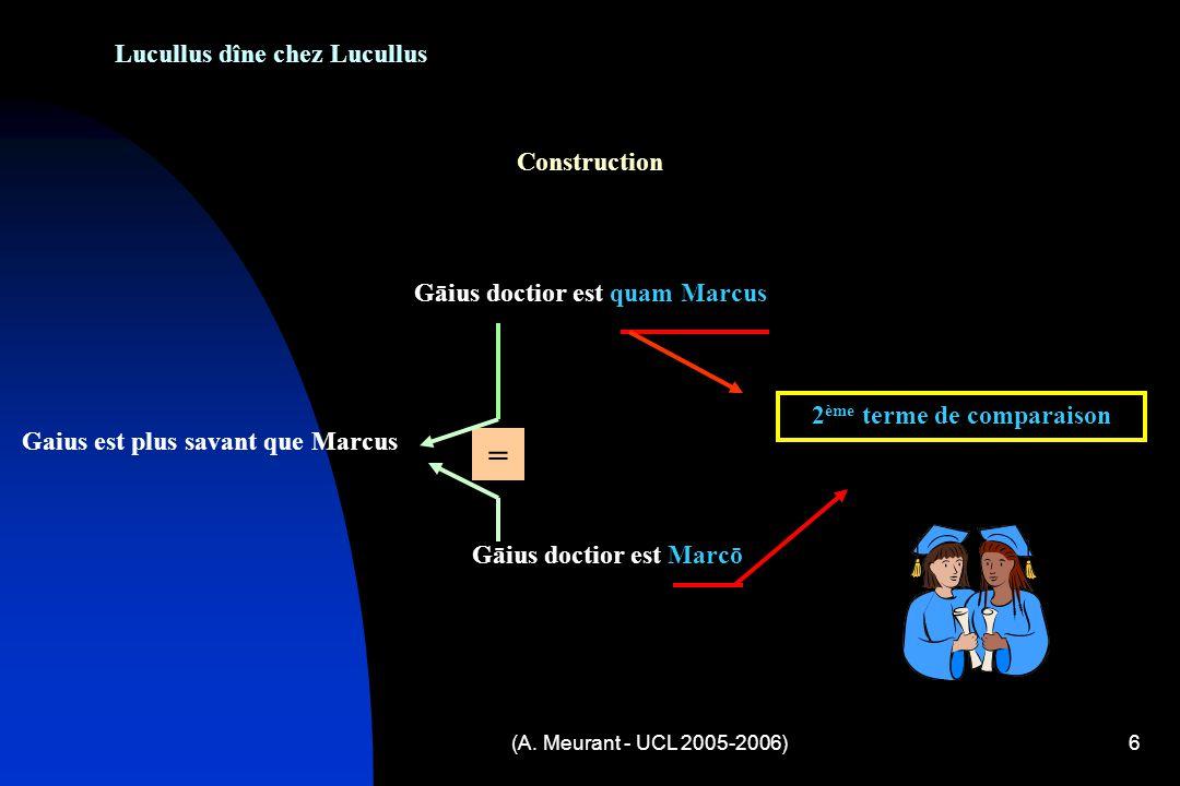 (A. Meurant - UCL 2005-2006)6 Lucullus dîne chez Lucullus Construction Gāius doctior est quam Marcus 2 ème terme de comparaison Gāius doctior est Marc