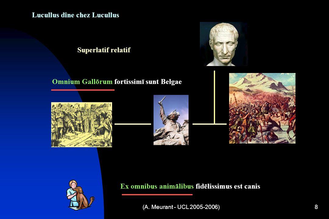 (A. Meurant - UCL 2005-2006)8 Lucullus dîne chez Lucullus Superlatif relatif Omnium Gallōrum fortissimī sunt Belgae Ex omnibus animālibus fidēlissimus