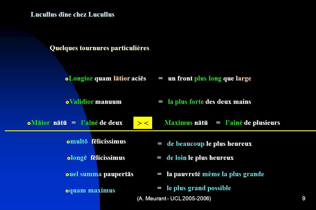 (A. Meurant - UCL 2005-2006)9 Lucullus dîne chez Lucullus Quelques tournures particulières Longior quam lātior aciēs= un front plus long que large Val