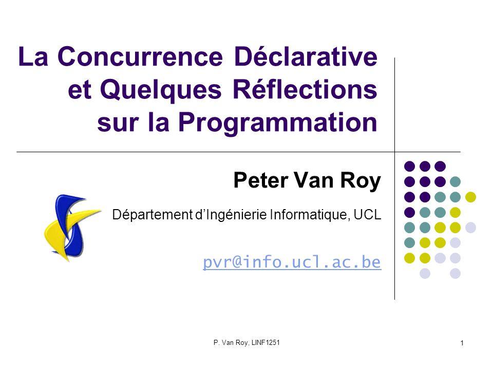 P.Van Roy, LINF125122 Une optimisation Sinon on crée beaucoup trop dagents.