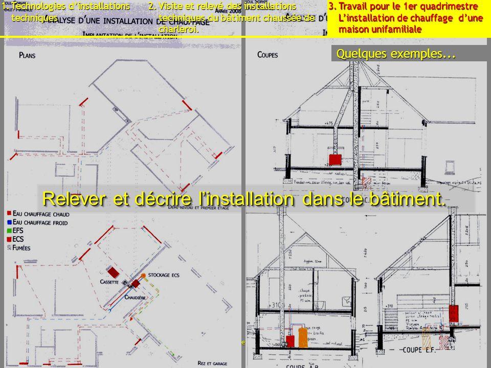 15 septembre 2009B3 - Cours déquipements - Présentation11 Relever et décrire linstallation dans le bâtiment.