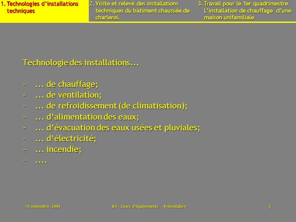 15 septembre 2009B3 - Cours déquipements - Présentation13 1.Technologies dinstallations techniques 2.Visite et relevé des installations techniques du bâtiment chaussée de charleroi.