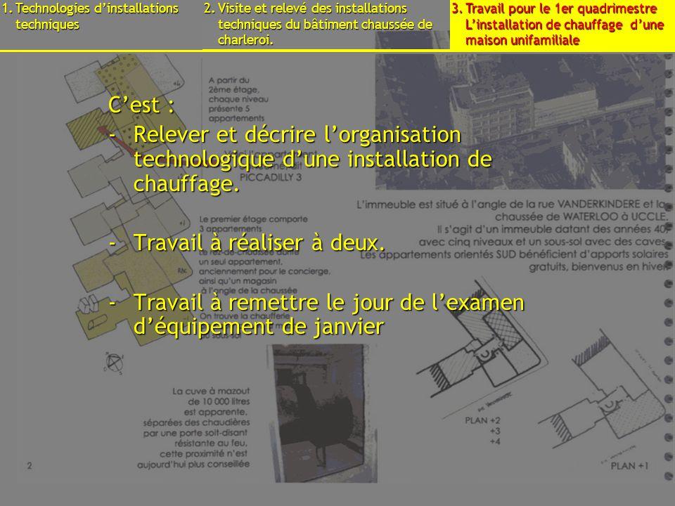 15 septembre 2009B3 - Cours déquipements - Présentation7 Cest : -Relever et décrire lorganisation technologique dune installation de chauffage.