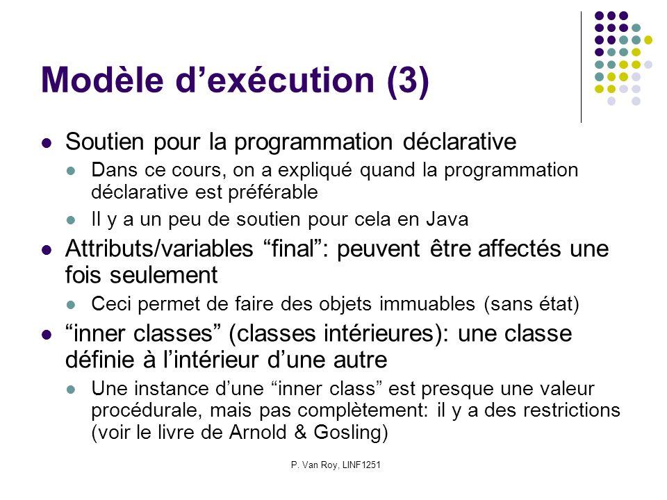 P. Van Roy, LINF1251 Modèle dexécution (3) Soutien pour la programmation déclarative Dans ce cours, on a expliqué quand la programmation déclarative e