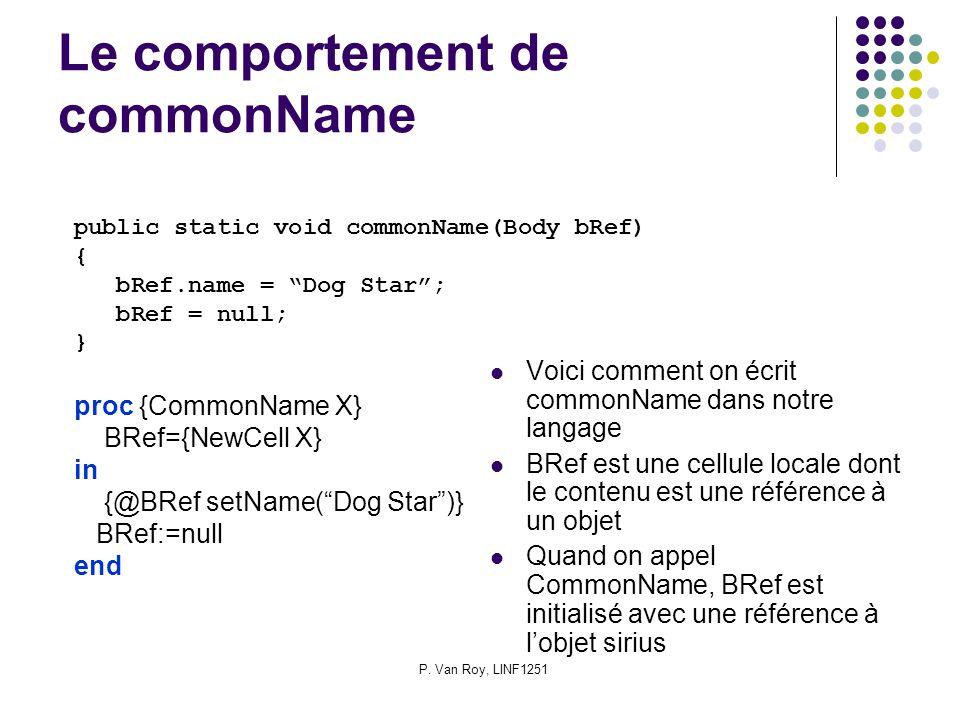 P. Van Roy, LINF1251 Le comportement de commonName Voici comment on écrit commonName dans notre langage BRef est une cellule locale dont le contenu es
